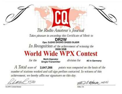 WW WPX 2009 2nd place