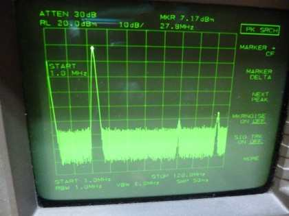 Picture 17a: 28 MHz @+13 dBm single filter (on main board) (< 120 MHz)