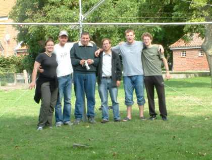 the team from left to right... YL Susi, DG0UFA Falk, DO5SM Ewald, DH3WO Wolfgang, DJ2HD Mathias and DL7JAN Jan