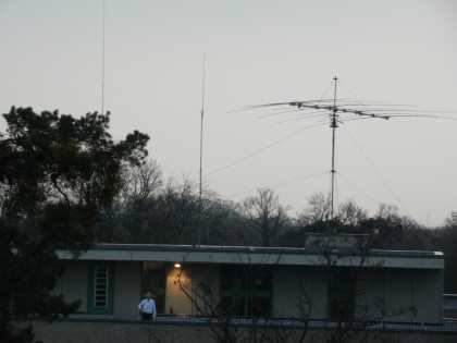 a view to our antenna setup from one of the other campus buildings