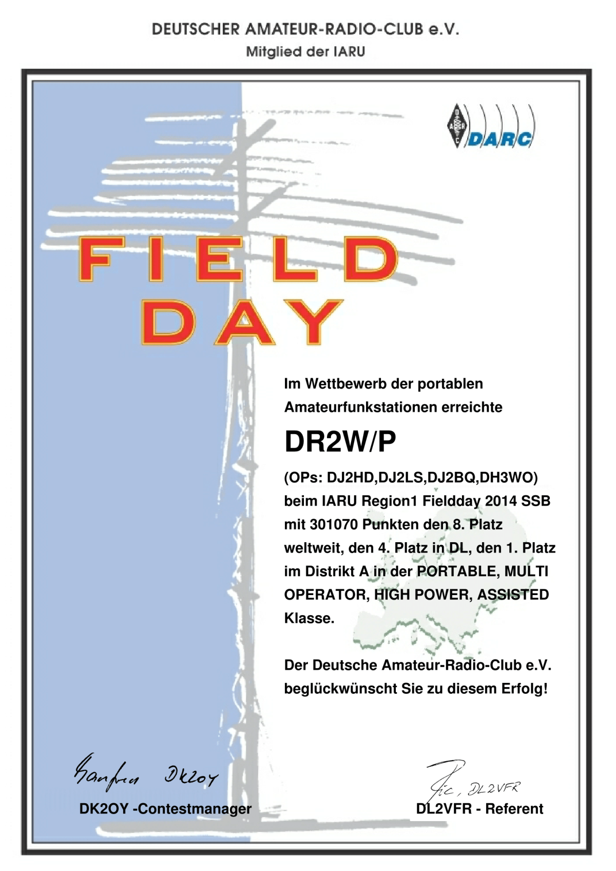 IARU FIELD DAY 4th DL, 1st District A