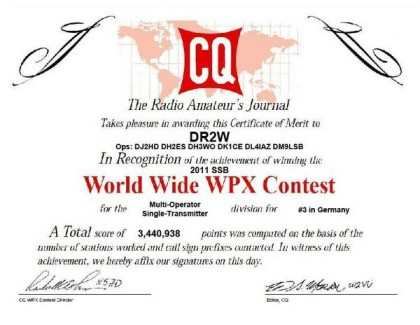 WW WPX 2011 3rd place