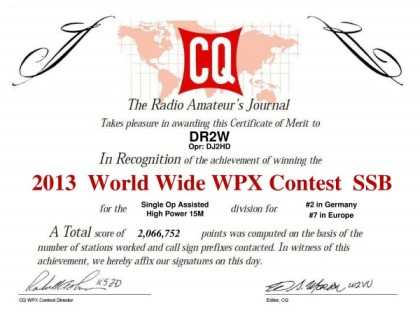 WW WPX 2013 2nd place