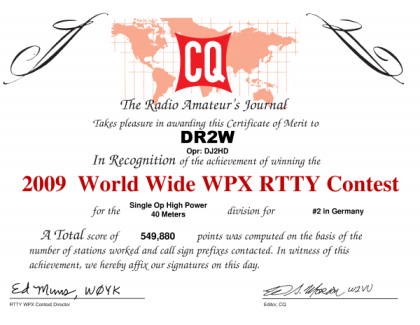 WW WPX RTTY 2009 2nd place